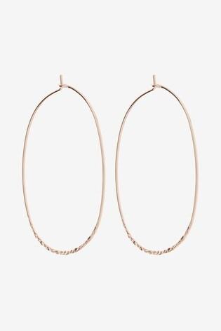 Rose Gold Tone Hammered Hoop Earrings