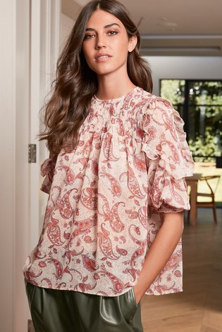 Red Paisley Ruffle Smock Top