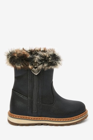 Black Warm Lined Charm Zip Boots (Younger)