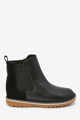 Black Warm Lined Leather Chelsea Boots