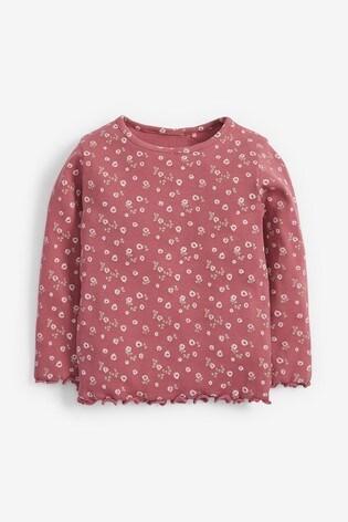 Pink Floral Long Sleeve Rib T-Shirt (3mths-8yrs)