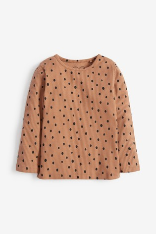 Camel Spot Long Sleeve Rib T-Shirt (3mths-8yrs)