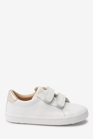 White Leather Touch Fastening Trainers (Younger)