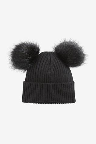Black Double Pom Beanie Hat (3-16yrs)