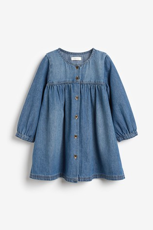 Denim Button Through Dress (3mths-7yrs)