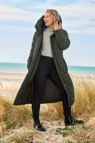 Womens Next Khaki Long Padded Coat Green | Padded coat