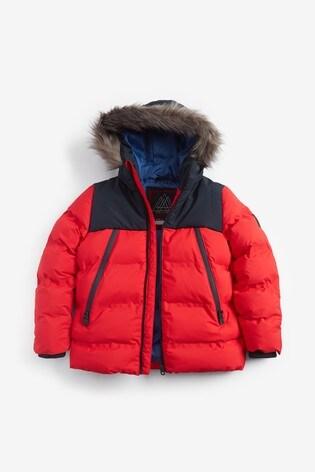 Red Faux Fur Trim Padded Jacket (3-16yrs)