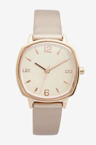 Rose Gold Tone Square Case Strap Watch