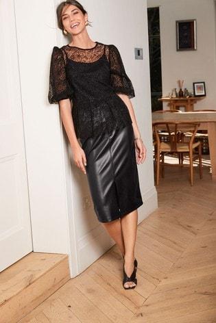 Black Faux Leather PU Midi Skirt