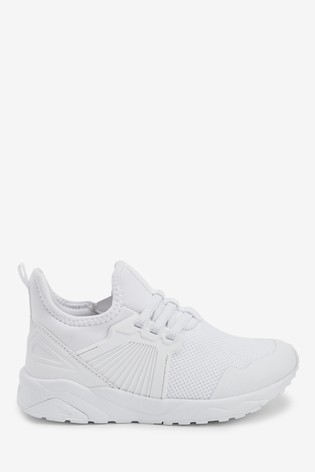 White Elastic Lace Trainers (Older)