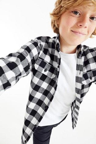 Monochrome Long Sleeve Check Long Sleeve Shirt (3-16yrs)