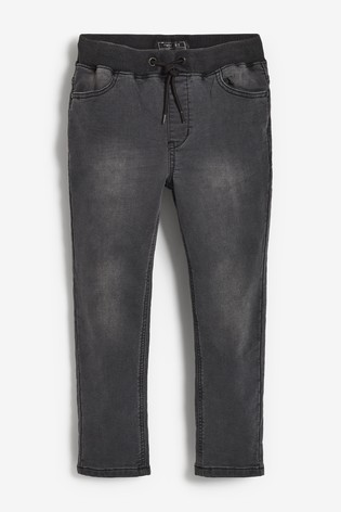 Charcoal Regular Fit Jersey Denim Pull-On Jeans (3-16yrs)