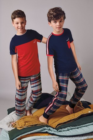 Navy/Red 2 Pack Short Sleeve Check Pyjamas (3-16yrs)
