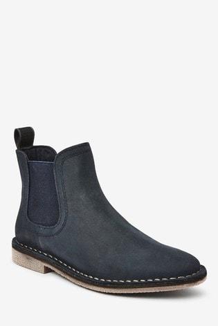 Navy Nubuck Chelsea Boots (Older)