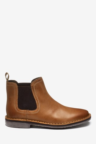 Tan Standard Fit (F) Leather Chelsea Boots