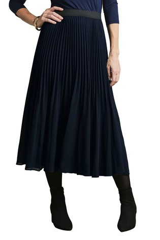 Pure Collection Blue Pleat Midi Skirt