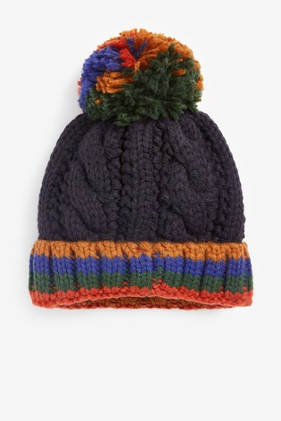 Navy Stripe Cable Pom Beanie Hat (Younger)