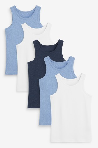 Blue/Grey 5 Pack Organic Vests (1.5-16yrs)