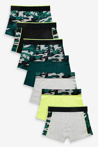 Green 7 Pack Camo Trunks (2-16yrs)