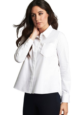 Pure Collection White Cotton Poplin Swing Shirt