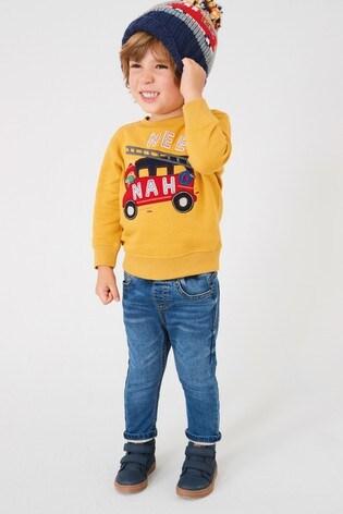 Yellow Fire Engine Crew Neck Sweater (3mths-7yrs)