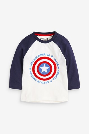 White Bouclé Captain America Long Sleeve Raglan T-Shirt (3mths-8yrs)