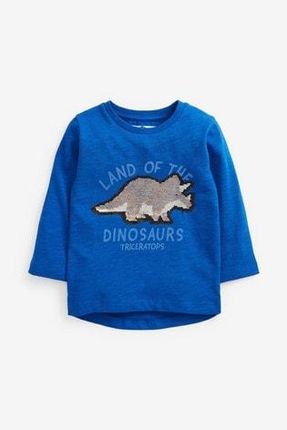 Blue Long Sleeve Dino Flippy Sequin T-Shirt (9mths-7yrs)