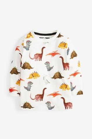 Multi Long Sleeve Dino Print T-Shirt (3mths-7yrs)