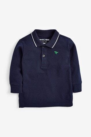 Navy Long Sleeve Plain Poloshirt (3mths-7yrs)