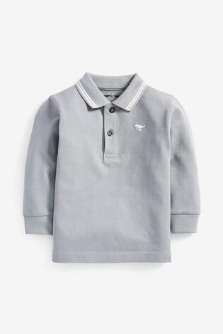 Grey Long Sleeve Plain Poloshirt (3mths-7yrs)