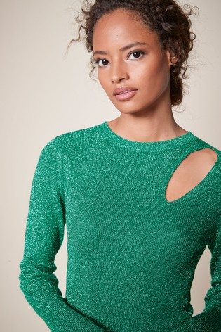 Green Sparkle Cut-Out Top