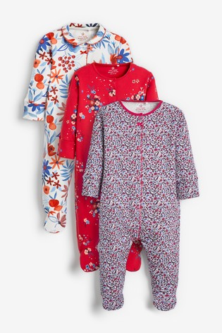 Red 3 Pack Floral Sleepsuits (0-2yrs)