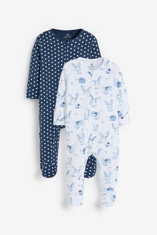 Navy 2 Pack Bunny Zip Sleepsuits (0-18mths)