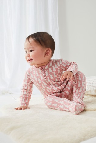 Pink 2 Pack Bunny Zip Sleepsuits (0mths-2yrs)