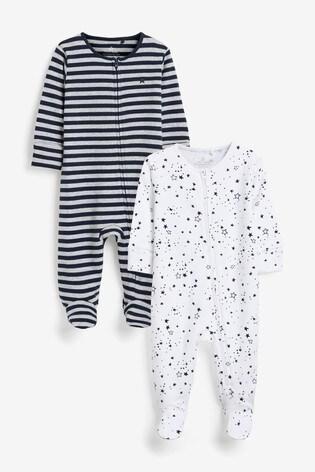 Navy 2 Pack Star Stripe Zip Sleepsuits (0mths-2yrs)