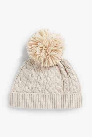 Cream Cable Knitted Hat With Pom (0mths-2yrs)