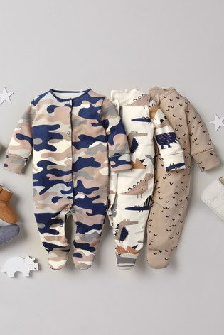 Camouflage 3 Pack Multi Print Sleepsuits (0-2yrs)