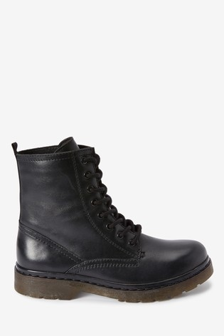 Black Emma Willis Leather Lace-Up Boots