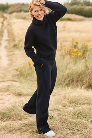 Navy Emma Willis Pinstripe Wide Trousers