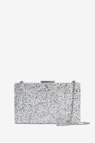 Silver Sparkle Boxy Clutch Bag