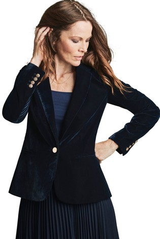 Pure Collection Blue Velvet Blazer