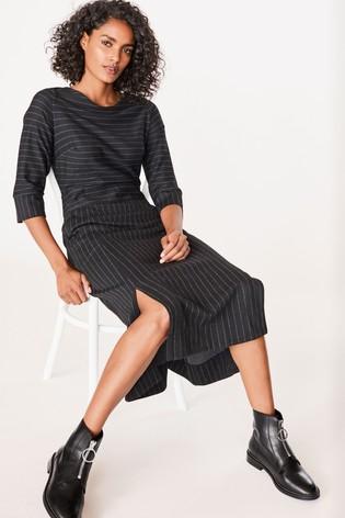 Black Pinstripe A-Line Midi Dress