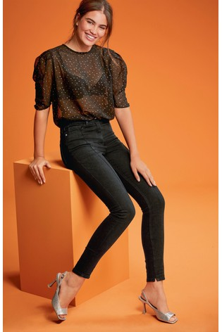 Black Front Seam Detail High Waist Authentic Skinny Jeans