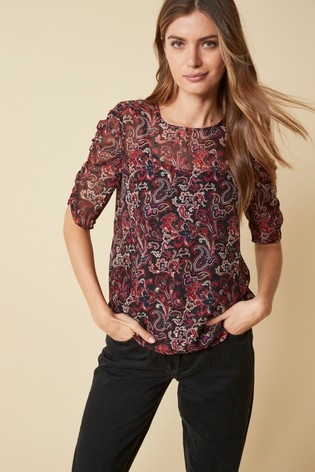 Paisley Ruched Short Sleeve Top