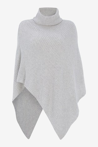 Mint Velvet Grey Roll Neck Knitted Poncho
