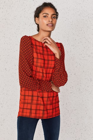 Red Check Cuff Detail Blouse