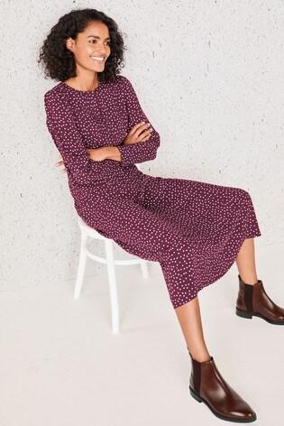 Berry Spot Print Keyhole Volume Sleeve Midi Dress