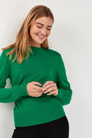 Green Volume Sleeve Jumper