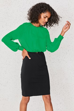 Black/Green 2-In-1 Belted Bodycon Dress