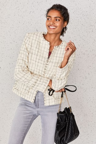 Cream Check Boucle Edge to Edge Blazer